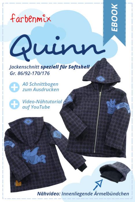 Softshelljacke nähen für Jungs Schnittmuster Ebook QUINN gerade Softshelljacke mit zusätzlicher A0 Schnittbogen zum Ausdrucken