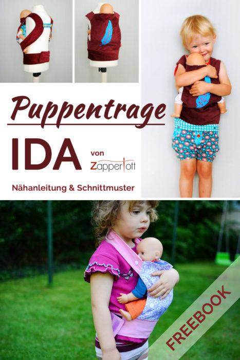 Kostenlose Nähanleitung Puppentrage IDA von Zapperlott - neues Freebook bei farbenmix
