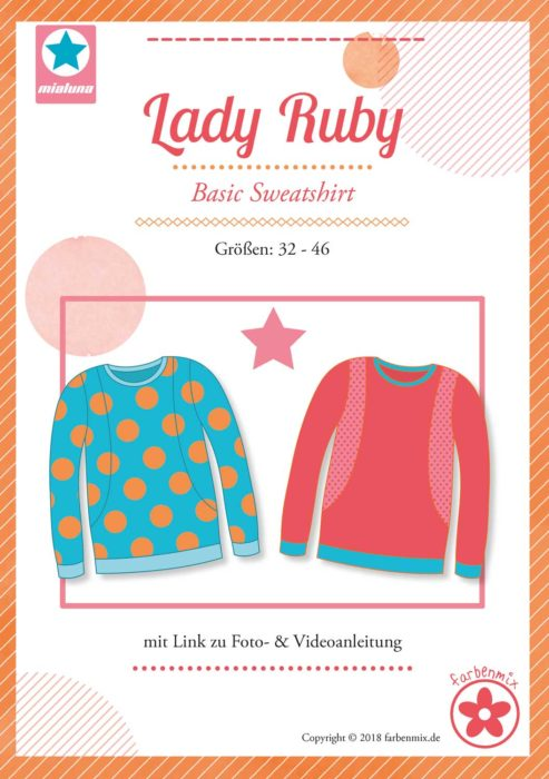 Lady Ruby - Papierschnittmuster von farbenmix - Basic Sweatshirt nähen größe 32-46