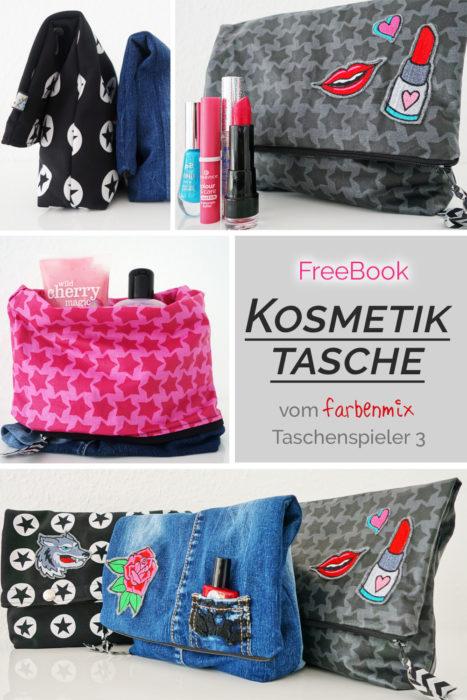 Kosmetiktasche Freebook Freebie von farbenmix - kostenloses Schnittmuster für eine Kosmetiktasche