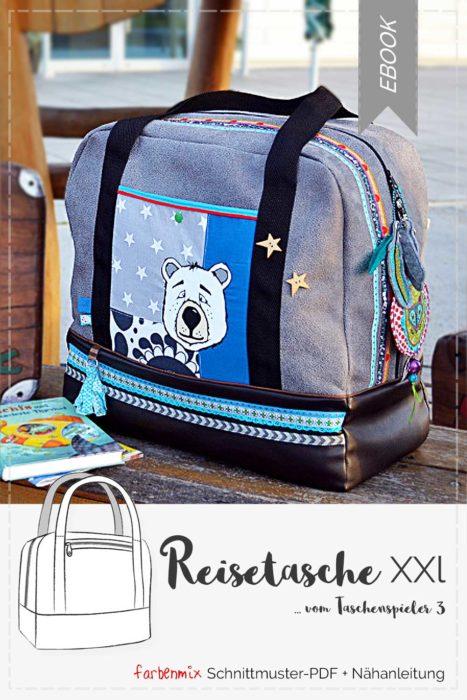 Eine Reisetasche XXL nähen mit dem Einzelebook jetzt ganz neu aus der Taschenspieler 3 CD von farbenmix