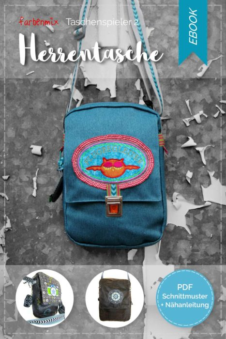 Herrentasche als Einzelebook zum sofort ausdrucken und losnähen. Eine Schnittmuster für eine Herrentasche jetzt neu im farbenmix Shop