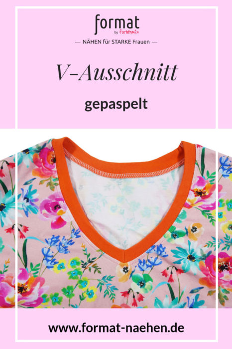 format nähen - V-Auschnitt aus feinen Bündchen - gepaspelter - nähen für starke Frauen mit Anleitungen von format bei farbenmix
