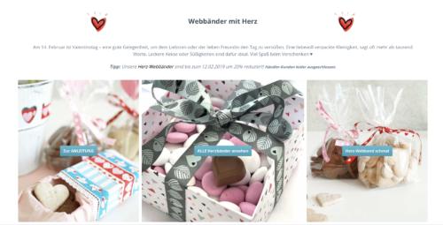 Webbänder mit Herz - zum Valentinstag Geschenke schön verpacken