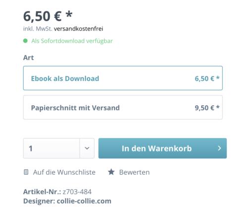 Navigation im Shop. Auswahl zwischen Ebook und Papierschnitt direkt im Artikel farbenmix.de