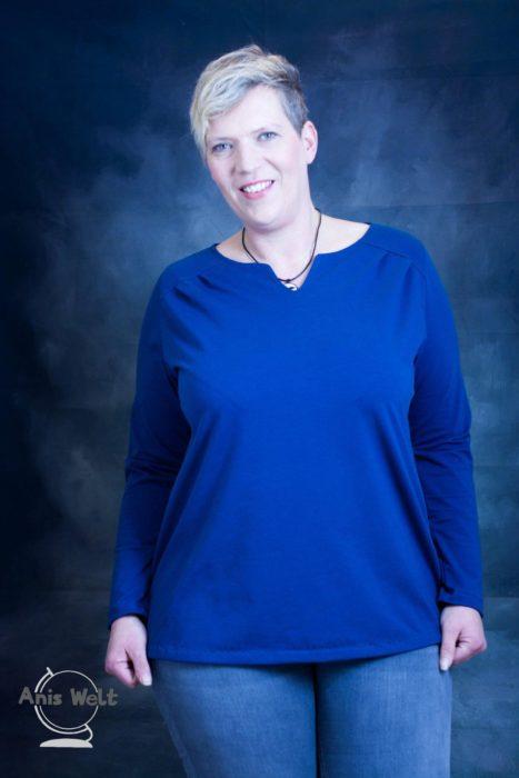 Damen XL Schnittmuster Shirt mit Schulterpasse und raffinierten Ausschnitt LUNA XL -erhältlich bei farbenmix