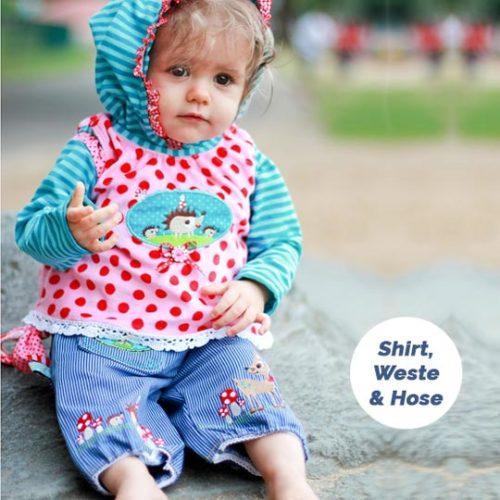 Shirt Weste Hose Kombi Schnittmuster für Kinder ohne Verschlüsse - farbenmix
