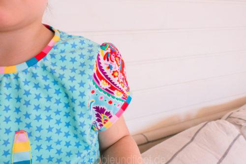 geraffte Armkugel beim Schnittmuster für Basic Shirts für Mädchen KleinFanö von farbenmix