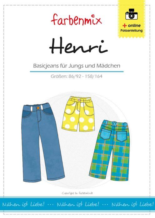 Kinder Basic Jeans nähen mit Henri von farbenmix als Papierschnittmuster von farbenmix auch als Ebook zum sofort ausdrucken