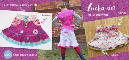 ZUCKA Mädchen Minirock nähen mit Schnittmuster und Ebook von Farbenmix