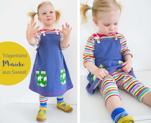 Trägerkleid aus Sweat nähen - mit dem Schnittmuster Ebook und Papierschnitt mit Anleitung von farbenmix
