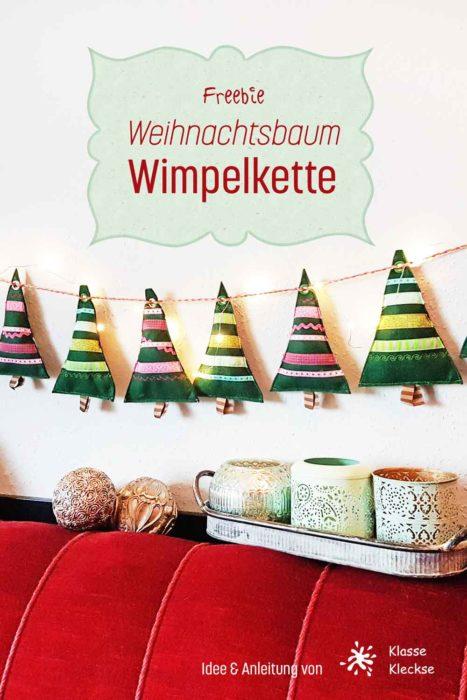 Weihnachtsbaum Wimpelkette nähen Freebook Freebie von farbenmix