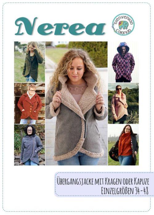 stylische asymmetrische Damenjacke nähen Schnittmuster Ebook Nerea Design bienvenido colorido - erhältlich bei farbenmix Übergangsjacke nähen mit Kragen oder Kapuze