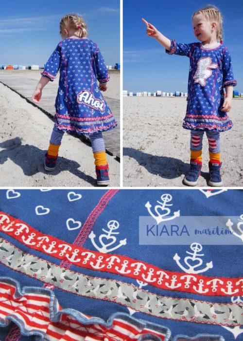 maritimes Jersey Kleid nähen Kiara von farbenmix Ebook und Papierschnittmuster