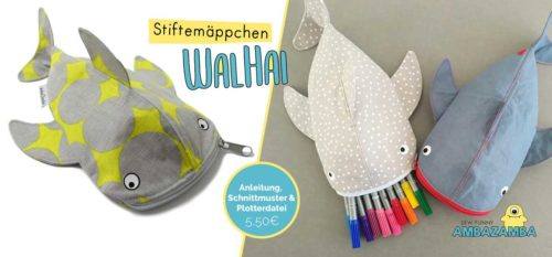 Walhai Stiftemäppchen Ebook Design AmbaZamba erhältlich bei farbenmix.