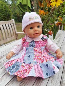 Puppenkleid nähen Größe 48 - 50 cm