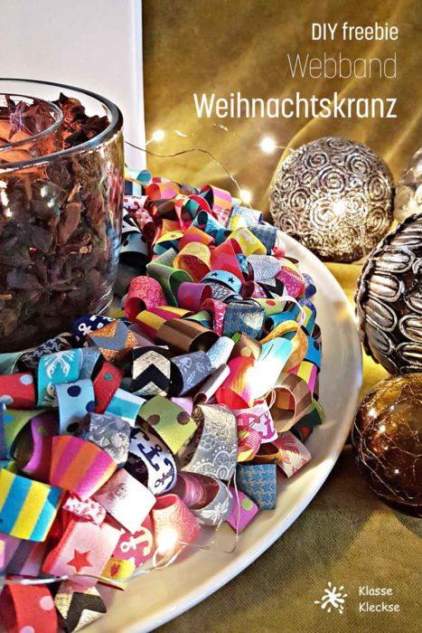 Weihnachtskranz aus Bändern selbstgenähte Deko und Geschenke farbenmix Ebooks