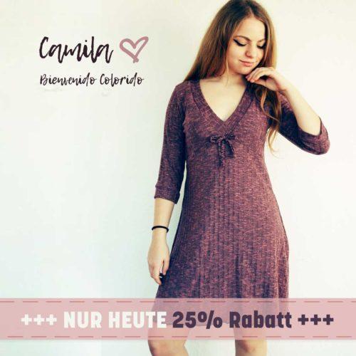 Kleid mit V-Ausschnitt Schnittmuster Ebook Camila von farbenmix design bienvenido colorido