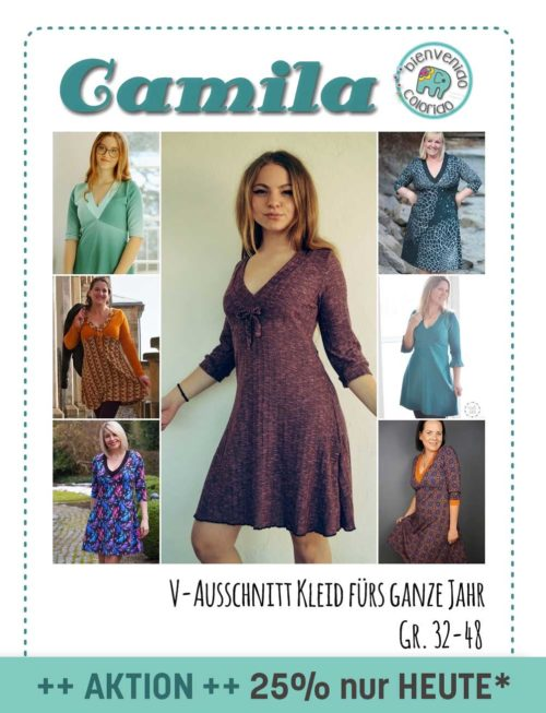 Camila Ebook farbenmix V-Ausschnitt Kleid nähen Schnittmuster Ebook