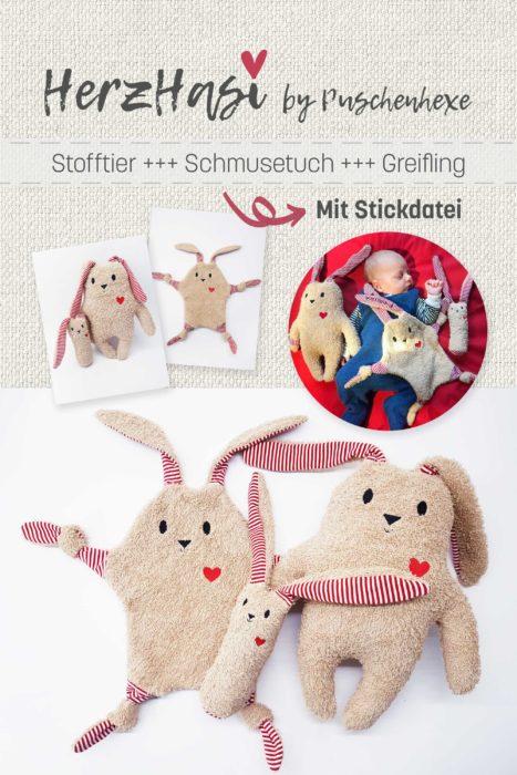 farbenmix Kuscheltier selber nähen Herz Hase Geschenkidee Kinder