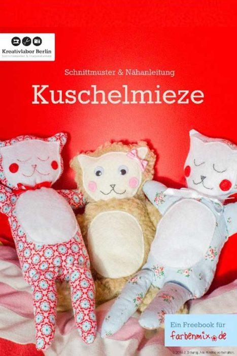 Kuschelmieze Katze selber nähen Kuscheltier farbenmix Geschenkewochen